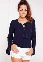 Missguided Cheesecloth Lace Detail Tie Up Blouse Navy Blue