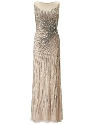 Adrianna Papell Sleeveless Beaded Mermaid Slit Gown Taupe Pink