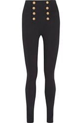 Balmain Embellished Stretch Crepe Skinny Pants Black