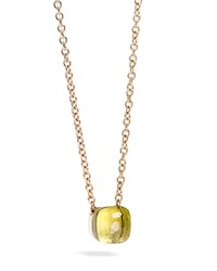 Pomellato Nudo Necklace With Lemon Quartz In 18K Rose And White Gold Yellow Rose