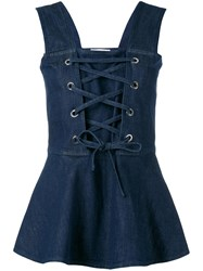 See By Chloe Lace Up Front Blouse Blue