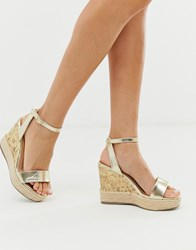 New Look Strappy Espadrille Wedge Sandal In Gold
