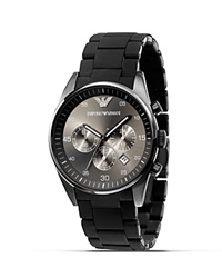Emporio Armani Black Rubber Wrapped Bracelet Watch 43 Mm