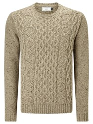 John Lewis Frosty Cable Crew Neck Jumper Neutral
