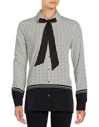 Karl Lagerfeld Long Sleeve Tie Neck Button Down Black