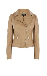 Karen Millen Tan Leather Biker Jacket Cream
