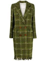 Tela Fringed Hem Houndstooth Coat Green