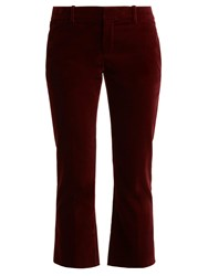 Saint Laurent Cropped Kick Flare Velvet Trousers Burgundy