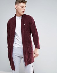 Asos Shawl Neck Towelling Dressing Gown With Logo Oxblood Red