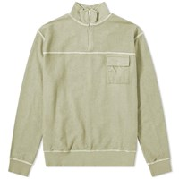 Tres Bien Reverse Half Zip Sweat Green