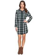Alternative Apparel Yarn Dye Flannel Timberwood Shirtdress Green Plaid Women's Dress