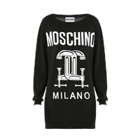Moschino Clamp Printed Long Sleeve Maxi Knitted Sweater