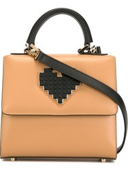 Les Petits Joueurs Small Lego Heart Tote Brown