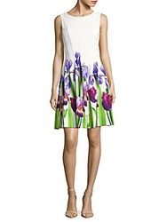 Calvin Klein Floral Print Fit And Flare Dress Purple Multicolor