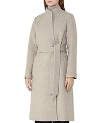 Reiss Elias Belted Wool Blend Coat Oatmeal