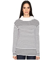 Atm Anthony Thomas Melillo Roll Neck Cozy Sweater White Black Stripe Women's Sweater Multi