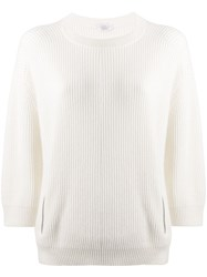 Brunello Cucinelli Zip Detail Sweater White