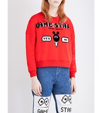 Mini Cream Game Start Jersey Sweatshirt Red