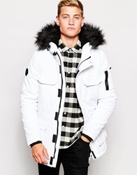 Bellfield Exclusive Parka With Faux Fur Hood White