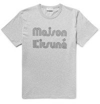 Maison Kitsune Printed Cotton Jersey T Shirt Gray