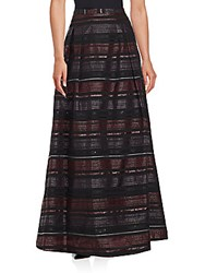 Kay Unger Back Zip Striped Skirt Black Multi