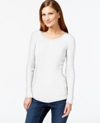 Inc International Concepts Petite Ribbed Crew Neck Sweater Only At Macy's Washed White