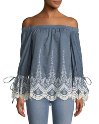 5Twelve Off The Shoulder Embroidered Chambray Blouse Blue Pattern