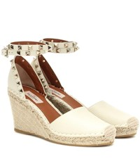 6a256bef541 Rockstud Double Leather Wedge Espadrilles White