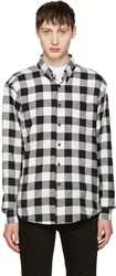 Naked And Famous Denim Black White Herringbone Buffalo Check Shirt