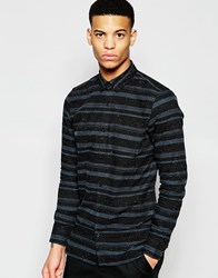 Pull And Bear Pullandbear Striped Shirt In Dark Grey Black