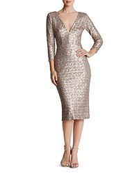 Dress The Population Casey Sequin V Neck Gray Gold