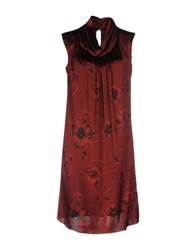 Silk And Soie Short Dresses Maroon