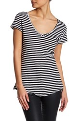 14Th And Union Striped V Neck Tee Petite Black White Strp