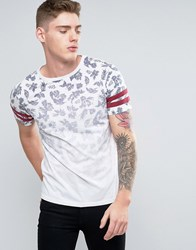 Brooklyn Supply Co. Co Faded Out Palm Print T Shirt White
