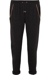 Brunello Cucinelli Satin Trimmed Bead Embellished Cotton Blend Jersey Track Pants Gray