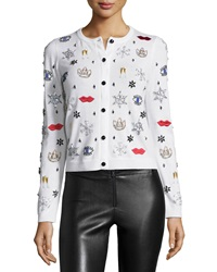 Alice Olivia Stacey Rhinestone And Applique Wool Sweater White
