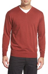 Men's Peter Millar Silk Blend V Neck Sweater Red Rust