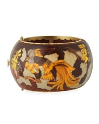 Silvia Furmanovich Marquetry Rooster Bangle Bracelet With Diamonds