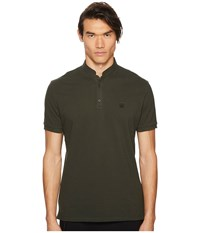 1698dd7b302d The Kooples Officer Collar Polo Shirt With Contrasting Trim Green Men's  Short Sleeve Pullover