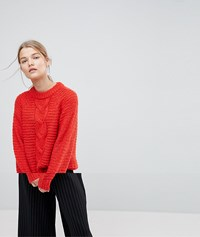 Selected Femme Cable Knit Jumper Red