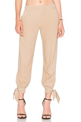 Enza Costa Silk Noil Ankle Tie Easy Pant Brown