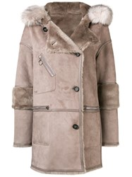 Urbancode Faux Fur Hooded Jacket Nude And Neutrals