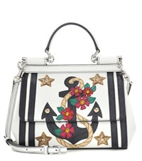 Dolce And Gabbana Sicily Small Leather Applique Bag White