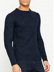 Reiss Andrew Twisted Yarn Crew Neck Jumper Navy