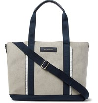 Want Les Essentiels Marti Nylon And Leather Trimmed Faux Suede Tote Bag Light Gray