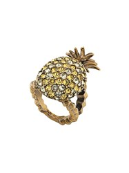 Gucci Crystal Studded Pineapple Ring In Metal Gold