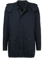 Gieves And Hawkes Hooded Raincoat Silk Cotton Blue