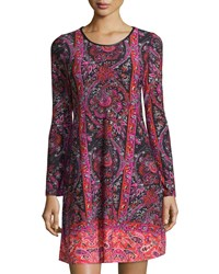 Neiman Marcus Paisley Long Sleeve A Line Dress Coral Pink
