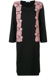 Blumarine Floral Embroidery Sweater Dress Black