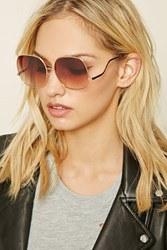 Forever 21 Gradient Square Sunglasses Gold Brown